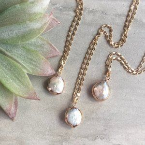 22K Gold Dainty Freshwater Baroque Pearl Necklace